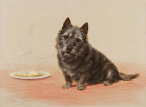 Art Prints of Suppertime, a Scottish Terrier by Maud Earl
