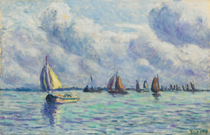 Art Prints of Boats on the Meuse, Rotterdam by Maximilien Luce