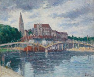 Art Prints of The Yonne and the Cathedral of Auxerre by Maximilien Luce
