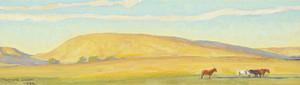 Art Prints of Golden Range, Study for a Mural, No. 2, 1922 by Maynard Dixon