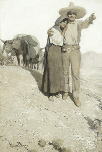 Art Prints of Mexican Man and Woman by Maynard Dixon