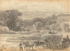 Art Prints of An Evening Landscape with Hay Wagon by Myles Birket Foster