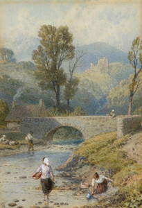 Art Prints of Figures on the River Dollar, Clackmananshire by Myles Birket Foster