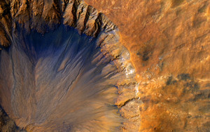 Art Prints of A Fresh Crater near Sirenum Fossea by NASA