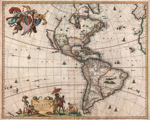 Art Prints of Map of North America and South America by Nicolaes Visscher