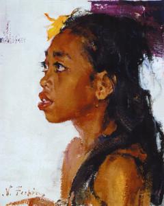 Art Prints of Girl with Bali by Nicolai Fechin