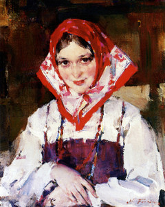 Art Prints of Girl with Red Kerchief by Nicolai Fechin