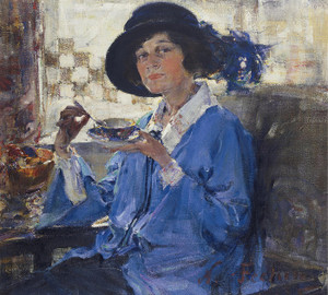 Art Prints of Portrait of Mrs. Krag, Tea in Santa Monica by Nicolai Fechin
