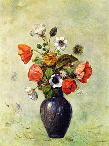Art Prints of Anemones and Poppies in a Vase by Odilon Redon