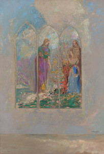 Art Prints of Devotion Near a Red Bush by Odilon Redon