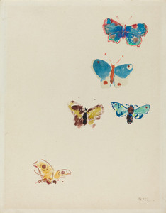 Art Prints of Five Butterflies, 1912 by Odilon Redon