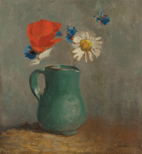 Art Prints of Poppy and Daisy in a Pitcher by Odilon Redon