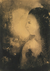 Art Prints of Profile of a Woman with Flowers by Odilon Redon