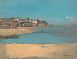 Art Prints of Village by the Sea in Brittany, 1880 by Odilon Redon