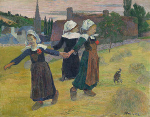Art Prints of Breton Girls Dancing, Pont Aven by Paul Gauguin