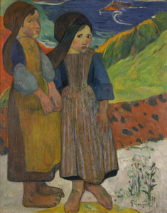 Art Prints of Two Breton Girls by the Sea by Paul Gauguin