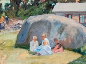 Art Prints of Children Playing in the Yard by Pekka Halonen