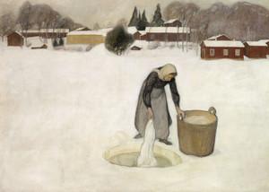 Art Prints of Washing on the Ice by Pekka Halonen