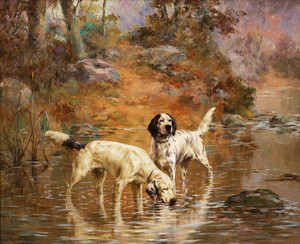 Art Prints of Two Setters in a Cooling Stream by Percival Leonard Rosseau