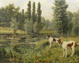 Art Prints of A Setter and a Pointer on a Riverbank by Percival Leonard Rosseau