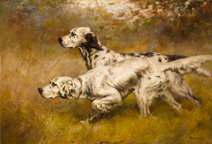 Art Prints of English Setters on Point by Percival Leonard Rosseau
