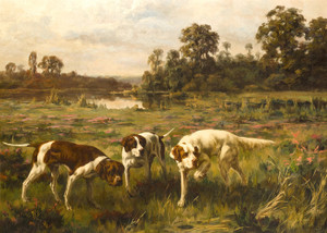 Art Prints of Three Hunting Dogs Stalking Game by Percival Leonard Rosseau