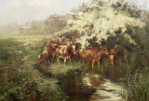 Art Prints of Calves Under Hawthorn Blossom by Philip Eustace Stretton