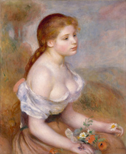 Art Prints of A Young Girl with Daisies, 1889 by Pierre-Auguste Renoir
