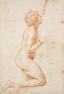 Art Prints of A Kneeling Nude Woman with Her Left Arm Raised by Raphael Santi
