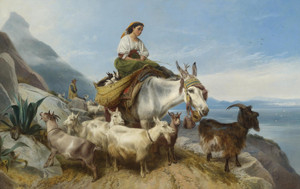 Art Prints of Goatherd on the Rock of Gibralter by Richard Ansdell