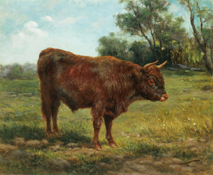 Art Prints of Longhorn Bull in a Landscape by Rosa Bonheur