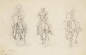 Art Prints of Study of Three Men on Horseback by Rosa Bonheur
