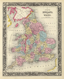 Art Prints of County Map of England and Wales (0565035) by Samuel Augustus Mitchell