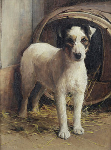 Art Prints of A Fox Terrier in Front of a Kennel by Samuel Fulton