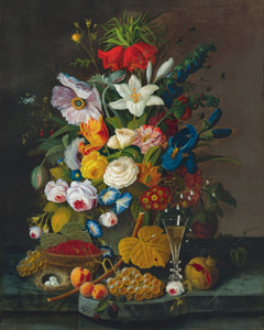 Art Prints of Abundant Bouquet with Pomegranate by Severin Roesen