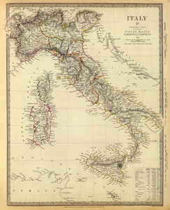 Art Prints of General Map of Italy, 1840 (0890036), Great Britain Map