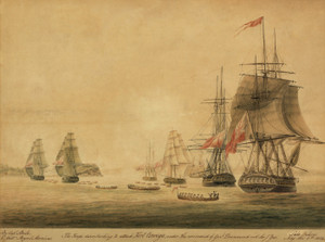 Art Prints of The Troops Disembarking to Attack Fort Oswego, 1814 (23090L) by Steele
