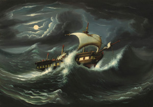 Art Prints of Storm Tossed Frigate by Thomas Chambers