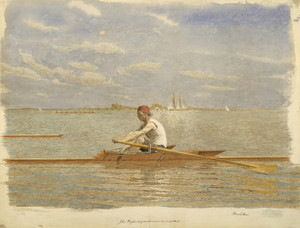 Art Prints of John Biglin in a Single Scull by Thomas Eakins