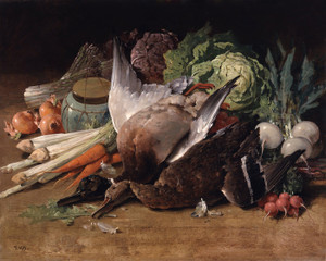 Art Prints of Still Life with Ducks and Vegetables by Thomas Hill