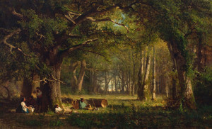 Art Prints of Woods at Fountainebleau, 1870 by Thomas Hill