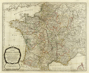 Art Prints of A New Map of the Kingdom of France, 1790 (0411019) by Thomas Kitchin