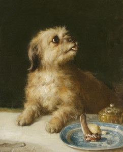 Art Prints of Just Caught, a Terrier by Thomas William Earl