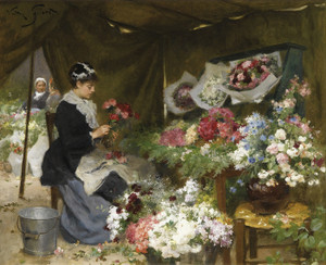 Art Prints of A Flower Seller Making Her Bouquets by Victor Gabriel Gilbert