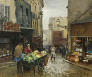 Art Prints of Market on the Rue Mouffetard, Paris by Victor Gabriel Gilbert