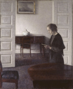 Art Prints of Interior with a Reading Lady by Vilhelm Hammershoi