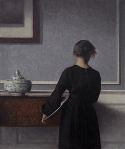 Art Prints of Young Woman from Behind by Vilhelm Hammershoi