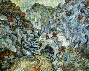 Art Prints of A Path Through the Peiroulets Ravine, 1889 by Vincent Van Gogh