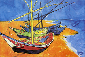 Art Prints of Fishing Boats on the Beach by Vincent Van Gogh