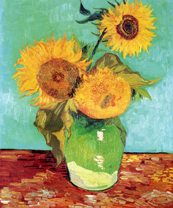 Art Prints of Three Sunflowers in a Vase, 1888 by Vincent Van Gogh